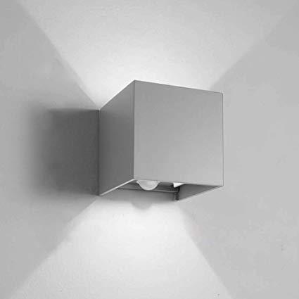 Applique da parete Cubo Grigio LED 6W Regolabile IP65