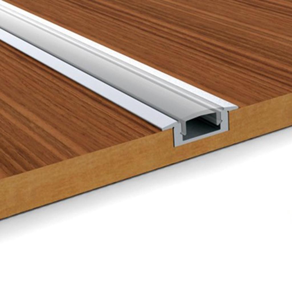 Profilo alluminio U incasso  2mt con copertura opaca