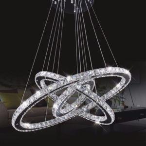Lampadario LED moderno con 3 anelli in cristallo