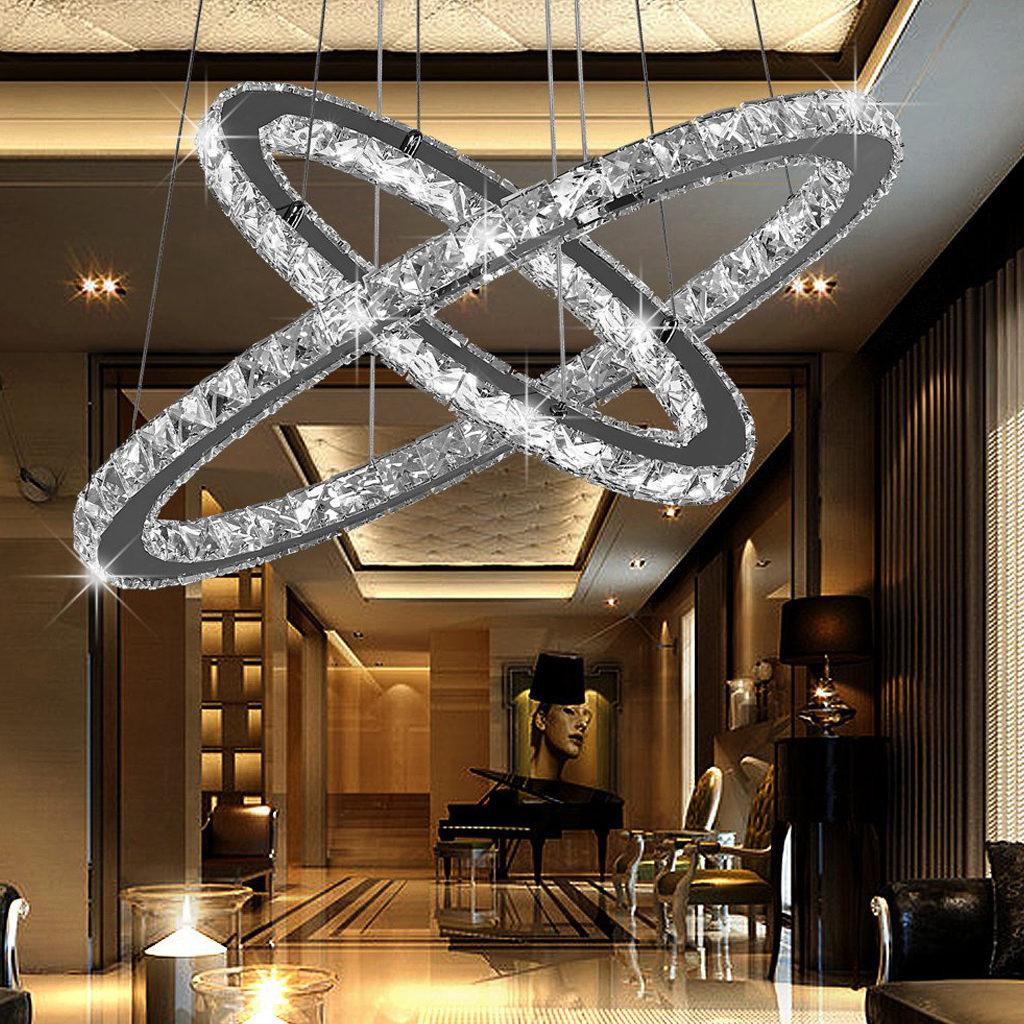 Lampadario Con Strisce Led lampadario led moderno con 2 anelli ovali