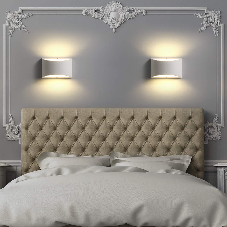 Applique Moderno da Parete Interno, Lampada da Parete Moderna Bianca in  Gesso Ceramico, Decorativa per Soggiorno, Camera da letto, Corridoio, Scale
