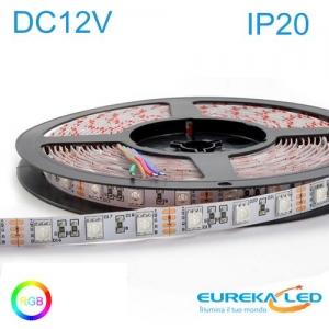 Striscia Led 5mt 12V 72W RGB Multicolore 300 LED SMD IP20