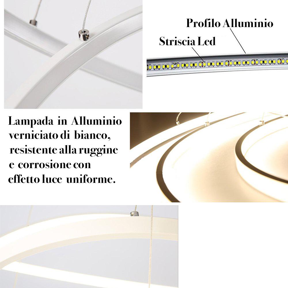 Lampadario Con Strisce Led eurekaled - lampadario a sospensione led moderno 3 anelli b40