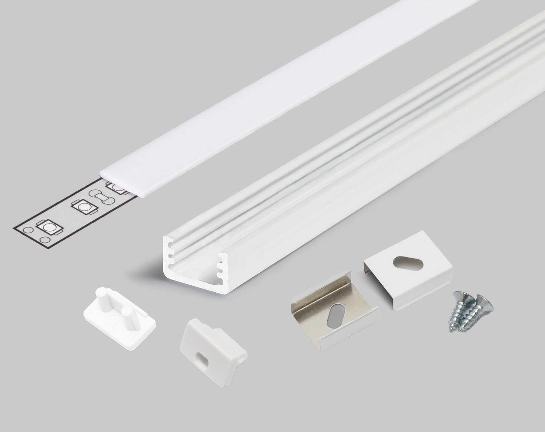 Profilo alluminio U bianco modello Slim8 copertura satinata