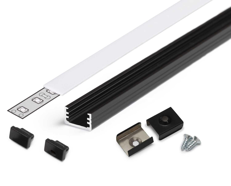 Profilo alluminio U nero modello Slim8 copertura satinata